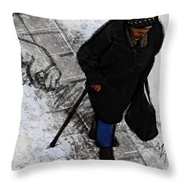 Throw Pillow featuring the digital art Old Lady With A Dog by Attila Meszlenyi