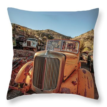 Old Mack Fire Engine Abandoned In Arizona Throw Pillow