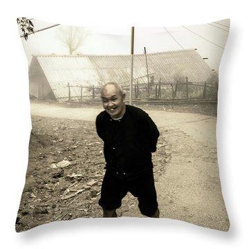 Old Man On Sapa Road, Vietnam Throw Pillow