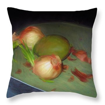 Throw Pillow featuring the mixed media Old Onions And Peels, Stylized by Lynda Lehmann
