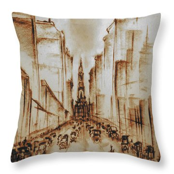 Old Philadelphia City Hall 1920 - Pencil Drawing Throw Pillow
