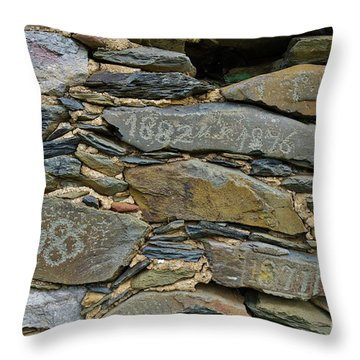 Old Schist Wall With Several Dates From 19th Century. Portugal Throw Pillow