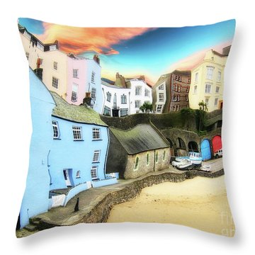 Old Sea Side Town  - Twisted Throw Pillow