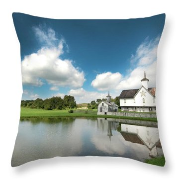 Old Star Barn And Pond Reflection Throw Pillow