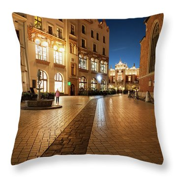 Old Town At Night In City Of Krakow Throw Pillow