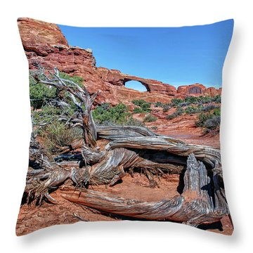 Old Tree And Skyline Arch Throw Pillow