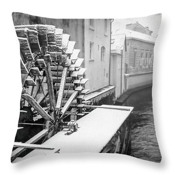 Old Water Wheel Certovka Canal Prague Black And White Throw Pillow