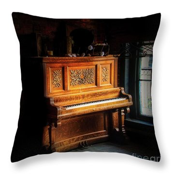 Old Wooden Piano Throw Pillow