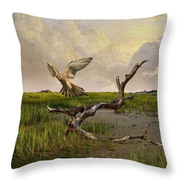 Old World Kestrel At Dawn Throw Pillow