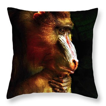 Throw Pillow featuring the mixed media Old World Mandrill by Susan Maxwell Schmidt