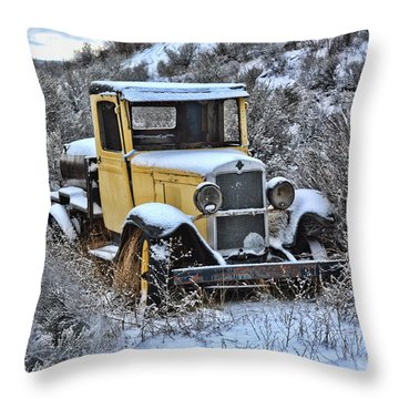 Old Yellow Truck Throw Pillow