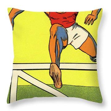 Olympics 1924 Paris France Hurdle Race Throw Pillow