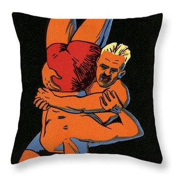 Olympics 1924 Paris France Wrestlers Throw Pillow
