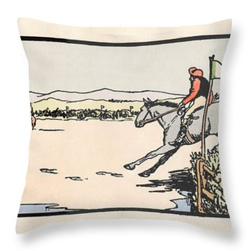 Throw Pillow featuring the painting Omey Races, Galway by Val Byrne