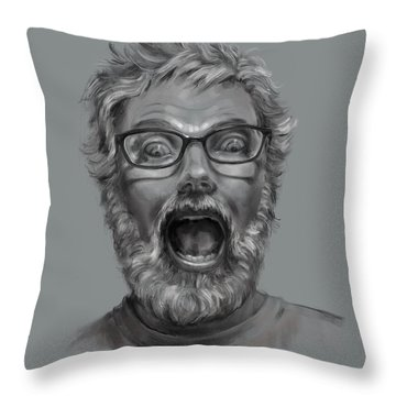 Throw Pillow featuring the drawing OMG by Lora Serra