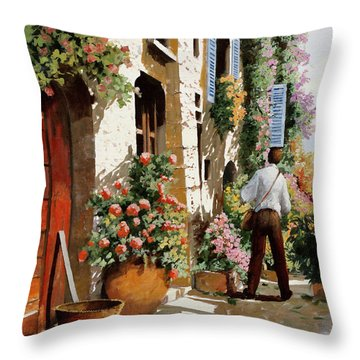 Omino Sulla Bella Strada Throw Pillow