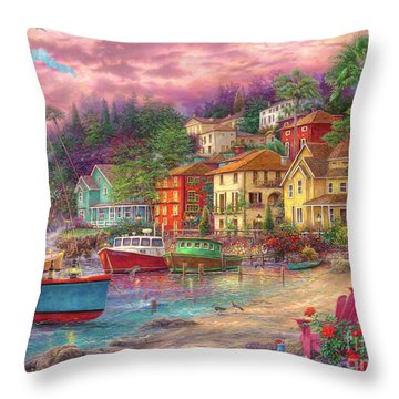 On Golden Shores Throw Pillow