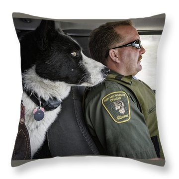 Throw Pillow featuring the photograph On Patrol by Brad Allen Fine Art