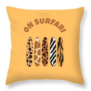 On Surfari Animal Print Surfboards  Throw Pillow