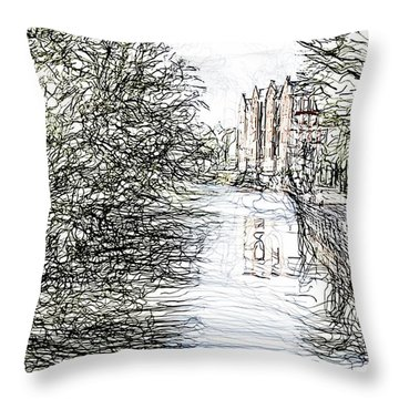 On The Banks Of The River Promenade  Throw Pillow