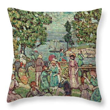 On The Beach, 1918 Throw Pillow