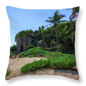 On The Coast Of Tulum Throw Pillow
