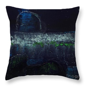 Throw Pillow featuring the painting Once In A Blue Moon by Kim Nelson