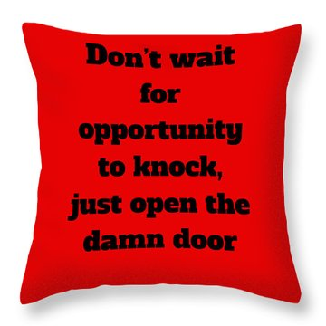 Throw Pillow featuring the digital art Open The Door      Black On Red by Edward Lee