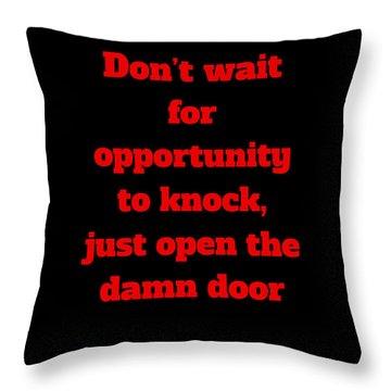 Open The Door     Red On Black Throw Pillow