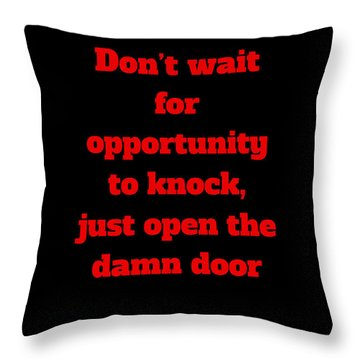 Throw Pillow featuring the digital art Open The Door     Red On Black by Edward Lee
