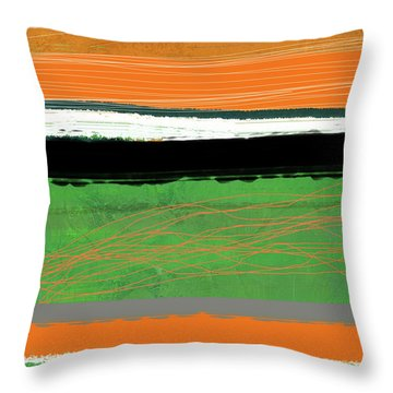 Orange And Green Abstract II Throw Pillow
