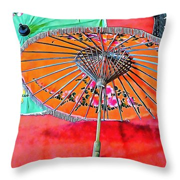 Throw Pillow featuring the photograph Orange And Green Oriental Parasols by Dorothy Berry-Lound