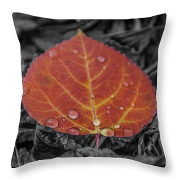 Orange Aspen Leaf Throw Pillow