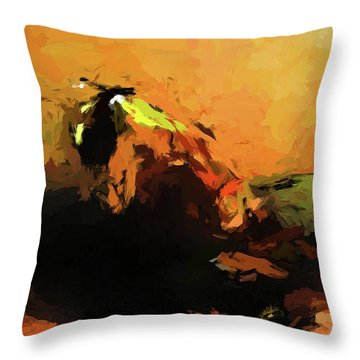 Orange Bull Cat Throw Pillow