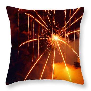 Orange Chetola Fireworks Throw Pillow