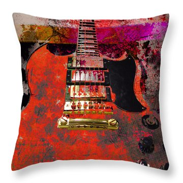 Orange Electric Guitar And American Flag Throw Pillow