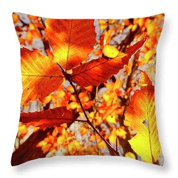 Orange Fall Leaves Throw Pillow