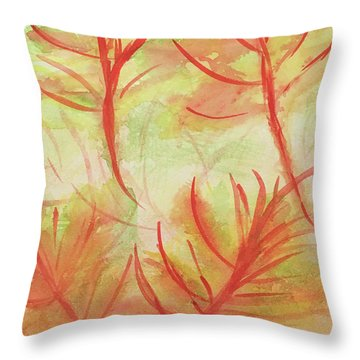 Orange Fanciful Leaves Throw Pillow