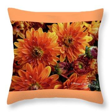 Orange Flowers No. 14 Throw Pillow