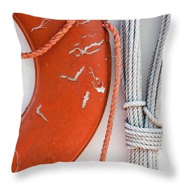 Orange Life Ring Throw Pillow