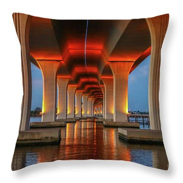 Orange Light Bridge Reflection Throw Pillow