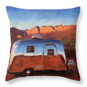 Orange Light On Red Rocks Throw Pillow