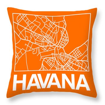 Orange Map Of Havana Throw Pillow
