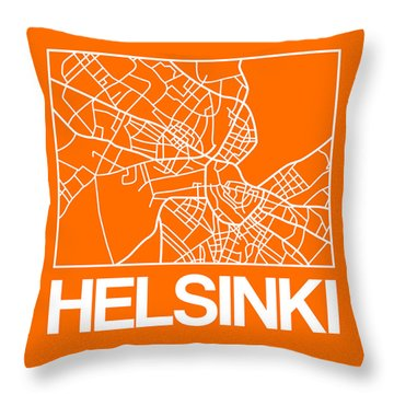 Orange Map Of Helsinki Throw Pillow