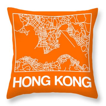 Orange Map Of Hong Kong Throw Pillow