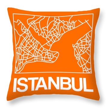 Orange Map Of Istanbul Throw Pillow