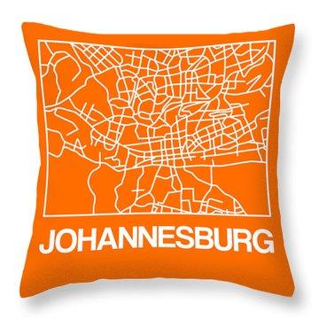 Orange Map Of Johannesburg Throw Pillow
