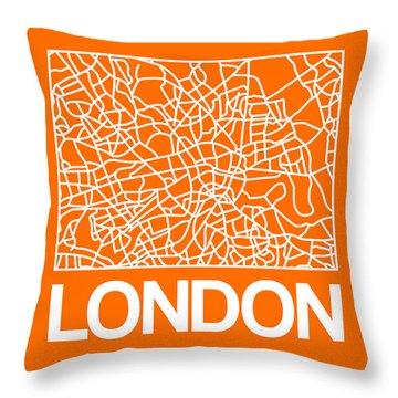 Orange Map Of London Throw Pillow