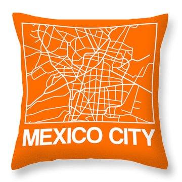 Orange Map Of Mexico City Throw Pillow