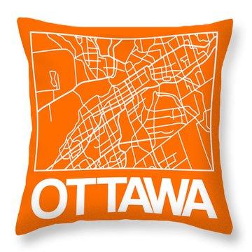 Orange Map Of Ottawa Throw Pillow